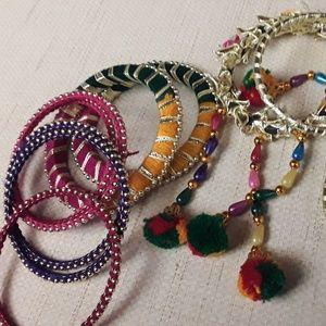 Boho Indian bangles rainbow pink purple green gold